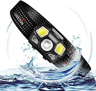 WARSUN Headlamp Flashlight Super Bright Waterproof IPX8 Waving control Easy to Use, Lightweight & Comfortable Headlight(black) …