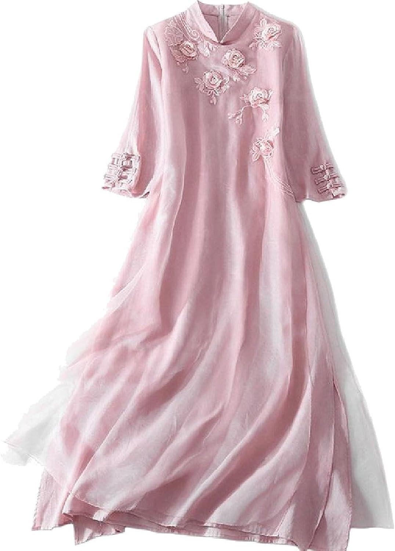 CoolredWomen Embroidered Zipup 3 4 Length Stand Collar Cheongsam Dress