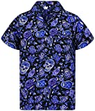 V.H.O. Funky Camicia Hawaiana, Skull, Blue, M