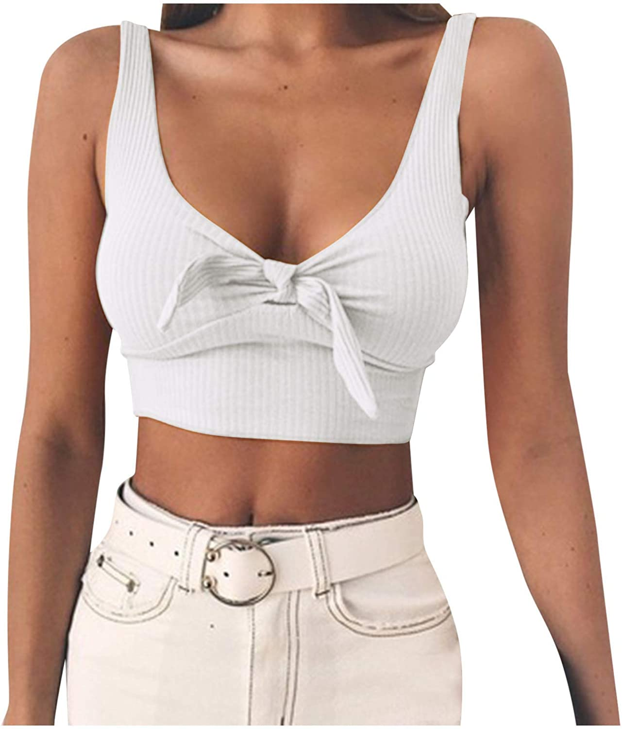 ML_Victor Crop Top for Women Sexy V Neck Crop Tank Tops Slim Fit Camisole Vest Solid Fashion Sleeveless Summer T Shirts