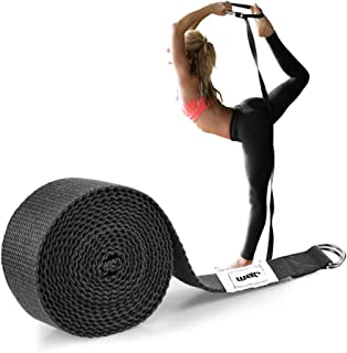 JBM Stretch Strap 6ft Strethcing Strap 8ft Yoga Strap with Double D-Ring Exerice Straps for Yoga Gravity Fitness (Black/Gr...