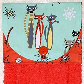 Hanging Hand Towel - Mod Cats On Aqua with Coral Starburst Accent Fabric - Plush Coral Kitchen Towel