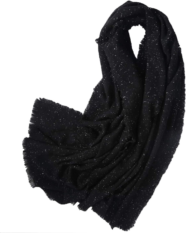 European Fashion Wool Scarf Thicken Black Women Starry Star Shawl for Autumn & Winter Use,Girls Gift,200 X 70cm
