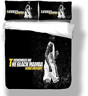 Juego de funda nórdica Kobe Los Angeles Basketball Player 24 ropa de cama Black Mamba Bryant Lakers Super Star Colcha de edredón Superstar de línea de tres puntos con 2 fundas de almohada Purple Gold