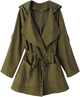 Women Jacket Hooded Long Sleeve Windbreaker Parka Pockets Cardigan Thin Coat by TOPUNDE