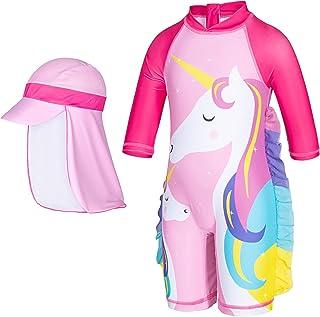 ثوب سباحة وردي لطيف قطعة واحدة للحماية من الشمس بأكمام طويلة مع قبعة للأطفال الصغار الفتيات 1-7 سنوات