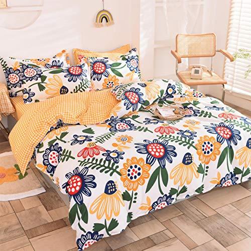 Cozywind Juego de 4 piezas de Funda Algodón, para Camas de 80 o 90cm, Diseño de flores incluye Girasoles, 100% Algodón Aloe Suave Microfibra con Cremallera150 x 200 cm(Amarillo)