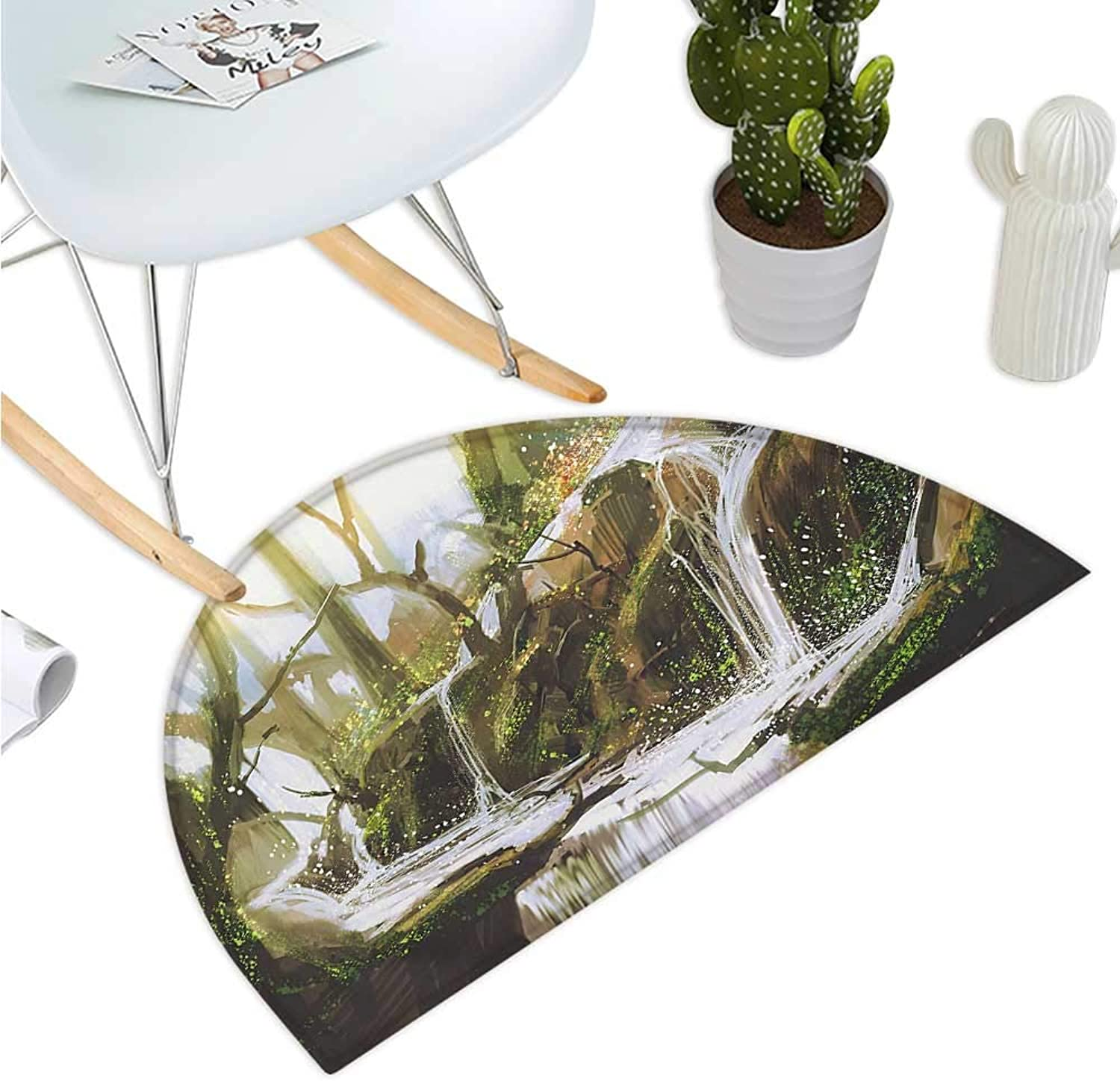 Fantasy Semicircular Cushion Cascade Stream Flows into The Creek in a Realistic Way Secret Paradise Paint Print Entry Door Mat H 39.3  xD 59  White Brown