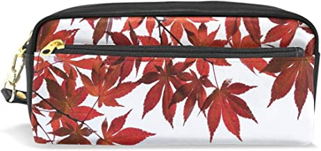 Pencil Case Stylish Print Autumn Leaves Autumn Nature Maple Leaf Wood Art Pattern Large Capacity Pen Bag Makeup Pouch Durable Students Stationery Two Pockets with Double Zipper