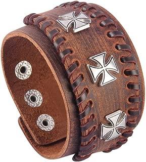Bfiyi Punk Leather Cuff Bracelets Adjustable Strap Wrap Bracelet Wide Cuffs Bangle Leather Wristband for Men, Kids, Boys, Women, Biker, Rocker