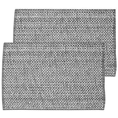 """Unique & Custom {13  x 19  Inch} Set Pack of 6 Rectangle """"Non-Slip Grip Texture"""" Large Table Placemats Made of Washable Flexible 100% Cotton w/ Light Modern Natural Fabric Design [Gray Color]"""