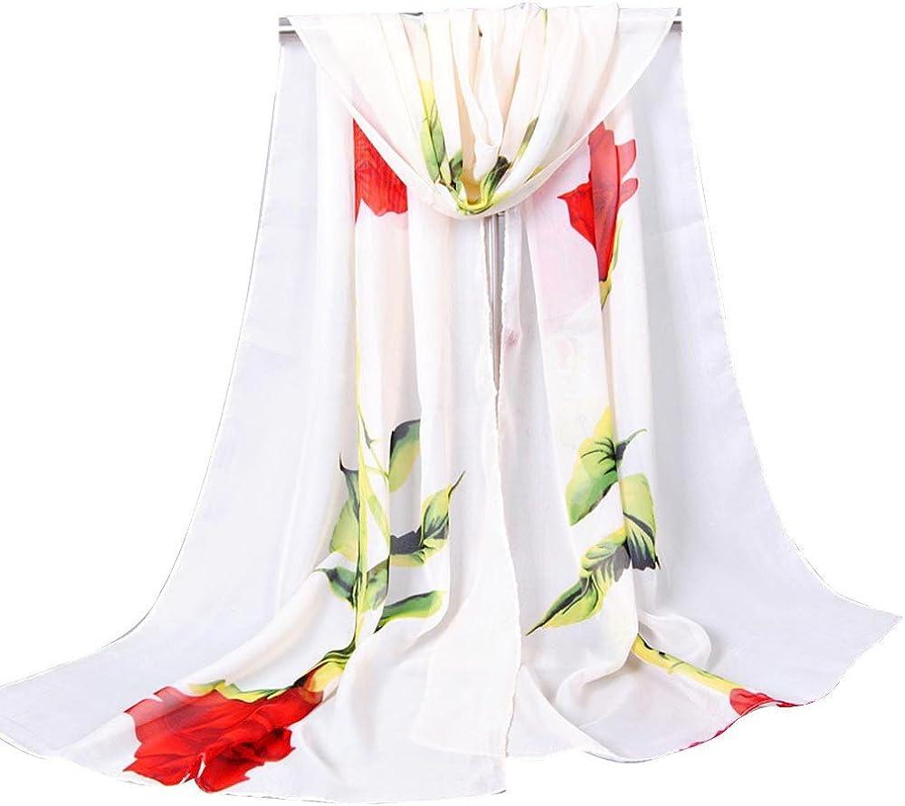 WUAI Scarf for Women Super Soft Silk Scarf Floral Sunscreen Shawls Wraps Scarves Fashion Chiffon Scarves