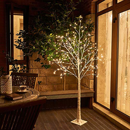 EAMBRITE 6FT Prelit Birch Tree with 288LT Led Fairy Tree Light Warm White Decor Home Festival Party Christmas Indoor and Outdoor Use