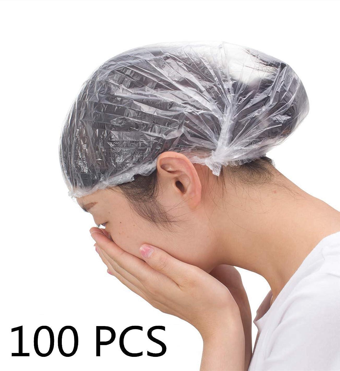 世紀安心わがまま使い捨てのシャワーキャップ100個、髪を保護するためのプラスチック製のシャワーキャップ、サロン用ヘアカバー、スパ、ホテル、シャワー、個別に包まれた、透明