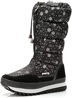 in Inverno di Top Snow Boots, Boots Fiocco di Neve-Stampato Zipper Scarpe Donna, Peluche Pattini Caldi per Ragazze
