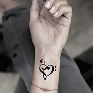Music Note Heart Temporary Fake Tattoo Sticker (Set of 2) - www.ohmytat.com