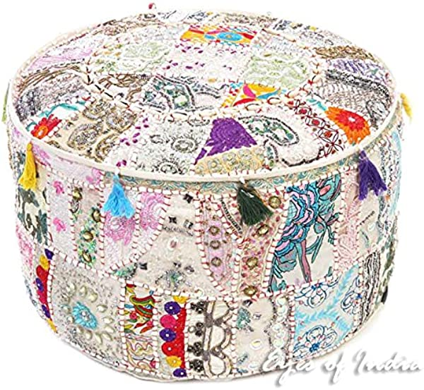 Eyes Of India 22 X 12 White Decorative Round Pouf Pouffe Ottoman Cover Seating Boho India Bohemian Decor