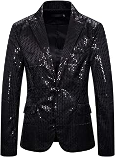 XWLY Men Suit Men Jacket Slim Fit Spring and Autumn Fashion Trend Sequin Button Long Sleeve Wedding Party Formal Occasion ...