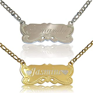 ProLuckis Personalized Custom Any Name Necklace 18K Gold Plated Handwriting Customized Nameplate Necklace