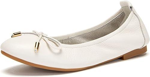 Ximu Nouveau Bow Round Haricot Chaussures Femme Confortable Bateau Chaussures Sandales Mocassins Flats