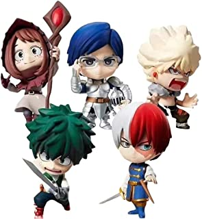 WerNerk My Hero Academia Mini Action Figure Todoroki Shoto Bakugou Katsuki Vinyl Figure Collectible PVC Figure for Kids Teens and Anime Fans, Set of 6