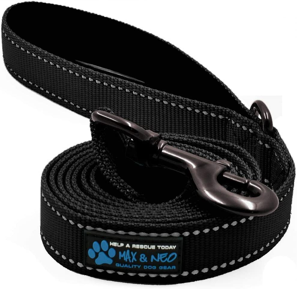 Max and Neo Reflective Nylon Dog Leash - We Donate a Leash to a Dog Rescue for Every Leash Sold (Black, 6 FT) : Pet Supplies