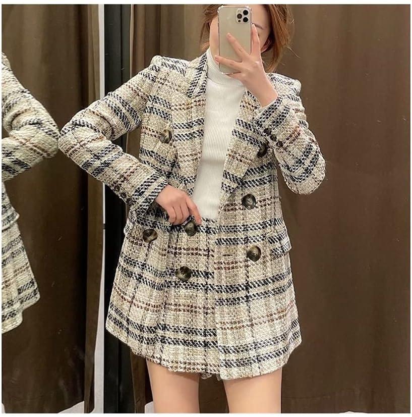 Women Fashion Double Breasted Tweed Check Blazer Coat,2021 New Vintage Long Sleeve Female Outerwear+Casual Shorts Skirts Suit (Color : Khaki Set, Size : Medium)