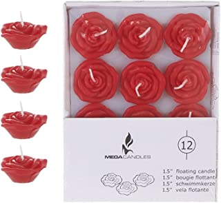 Mega Candles 12 pcs Unscented Red Floating Rose Petals Flower Candle, Hand Poured Wax Candles 1.5 Inch Diameter, Home Décor, Wedding Receptions, Baby Showers, Birthdays, Celebrations & More