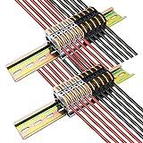 morsetti elettrici rapidi, ctricalver morsettiera connettore cablaggio compatto (10 pcs grigio +10 pcs nero), 2 pcs 20 cm guida zincato, con viti