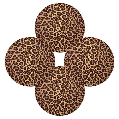 WXLIFE Placemats Set of 4, Leopard Animal Skin Print Round Place Mats Heat Resistant Non-Slip, Washable Table Mats for Kitchen Home Dining Room
