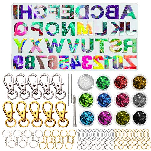 246Pcs Resin Moulds Silicone Resin Casting Molds Making Kit Alphabet and Numbers Molds with 10Pcs Keychain for Jewelry Making Molds for Resin, Silicone Epoxy Resin Moulds