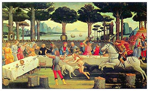 ArtPlaza Botticelli Schilderijen op Boccaccio's Decameron Derde aflevering Decoratief Paneel, Hout, Multi-Colour, 100 x 1.8 x 60 cm