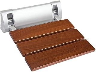 WSJTT Folding Shower Seat Wooden Wall Mounted Bench Bathroom Stool Wood/Stainless Steel