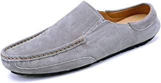 TONGDAUAE Men's Driving Penny Loafers Genuine Leather Casual Slippers Slip-On Boat Mules formal shoes (Color : Gray, Size : 41 EU)