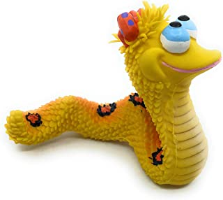 Smiley Snake Sensory Squeaky Dog Toy for Small Medium Dogs Natural Rubber (Latex) Lead Chemical-Free Complies with Same Safety Standards as Children's Toys Soft Unstuffed Squeaky