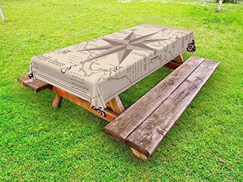 ABAKUHAUS Kompas Tafelkleed voor Buitengebruik, Midden-Amerika Kaart, Decoratief Wasbaar Tafelkleed voor Picknicktafel, 58 x 84 cm, Lilac Plum