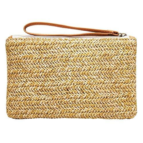 Bolsos De Paja Señoras Wristlet Clutch Mujeres Daily Money Phone Pouch Monedero De Paja Tejida Casual Summer Beach Wallet Card Card Bags A