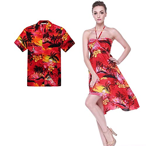 615b734e24a02 Couple Matching Hawaiian Luau Party Outfit Set Shirt Dress in Sunset Red