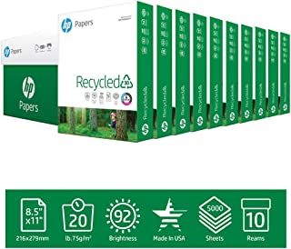 HP Printer Paper 8.5x11 Recycled30 20 lb 30% postconsumer recycled 10 Ream Case 5000 Sheets 92 Bright Made in USA FSC Certified Copy Paper HP Compatibile 112100C
