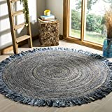 Safavieh Cape Cod Collection CAP206D Hand-woven Jute Area Rug, 3' Round, Ivory/Denim