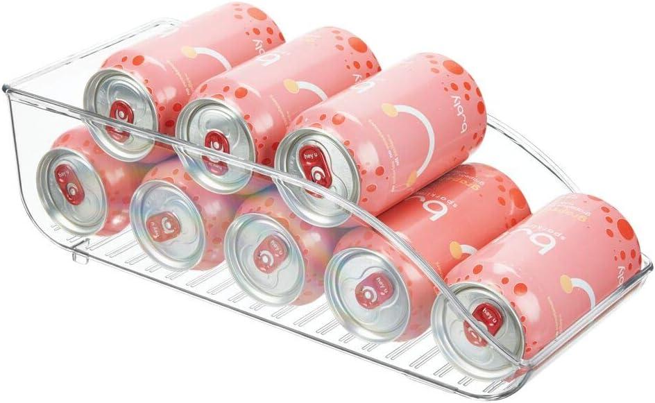 mDesign Cajas de almacenaje para frigorífico y armarios de cocina – Contenedores de plástico con capacidad para 9 latas – Práctico organizador de nevera – transparente