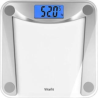 Vitafit Báscula de Baño Digital de Alta Medición Precisa 180kg/400lbs/28st con Tecnología Step-On,Pantalla Grande Retroiluminación,Vidrio Transparente