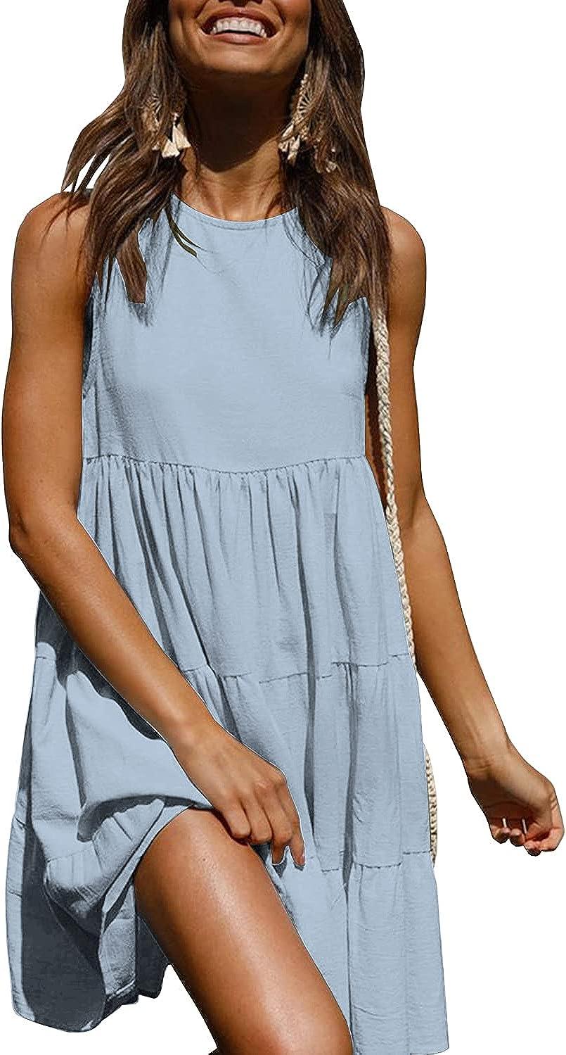 KIRUNDO Women's Summer Sleeveless Round Neck Casual Loose Mini Dress Cute Solid Color Flowy Swing Pleated Dress Sundress