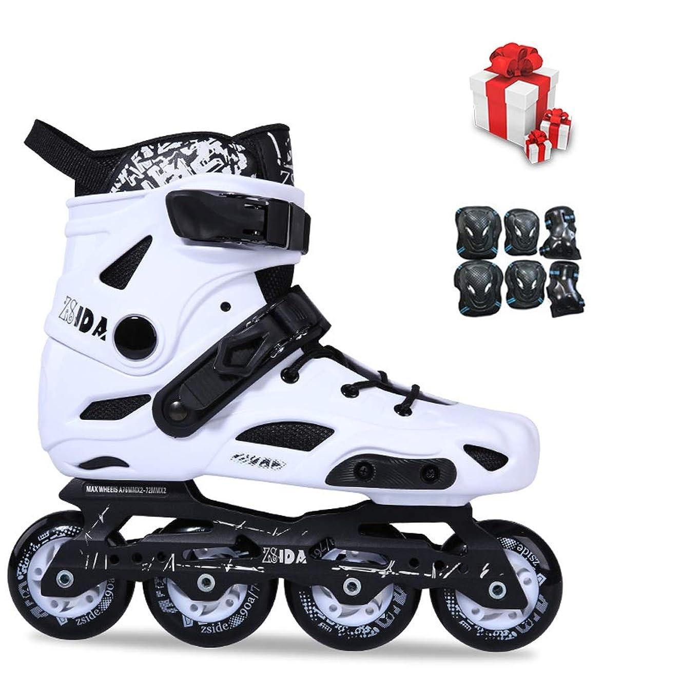 バーベキューディスカウント重大インラインスケート 初心者の成人プロのインラインスケート靴、高性能単列スケート靴のスケート靴、34-44ヤードオプション (Color : White, Size : EU 38/US 6/UK 5/JP 24cm)