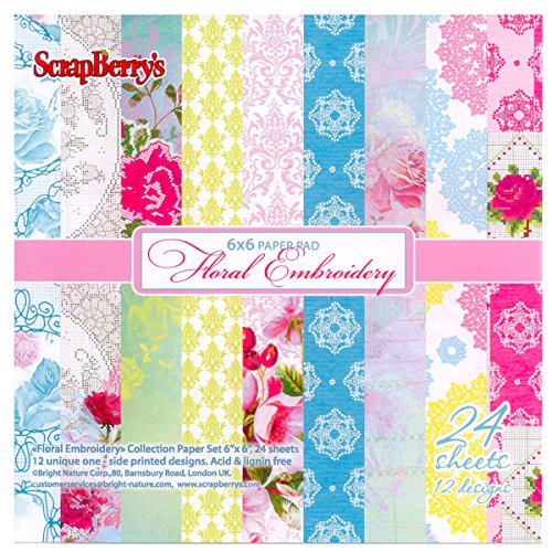 scrapberry 's Scrapbooking Papier Set 6 x 6 in in Blumenmuster Stickerei 170 GMS
