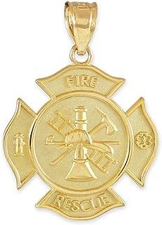 10K Yellow Gold Fire Rescue Maltese Cross Firefighter Badge Pendant