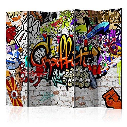 murando Biombo - Graffiti 225x172 cm Impresion Bilateral en el Lienzo de TNT de Calidad Decoracion Foto Biombo de Madera con Imagen Impresa Separador Grande Home Office i-A-0103-z-c