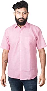JPF Smart Stewart Mens Cotton Regular Fit Casual Half Sleeve Shirt with Pocket Colorful Summer Casual Clothing (Pink)