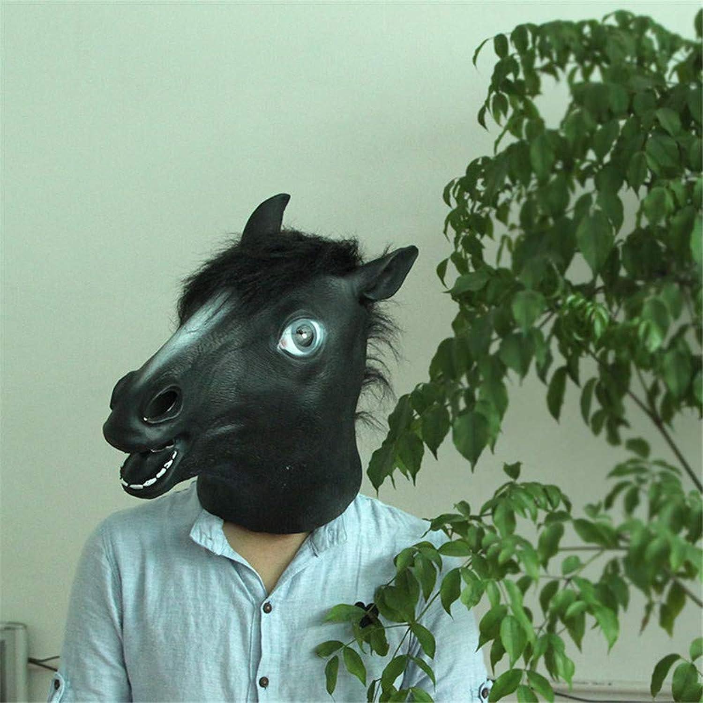 NUOKAI Cosplay Pferd Kopf Maske Pferd Kopf Perücke Maske Hund Pferd Pferd Jahr Maske grün Latex, Dunkles Pferd