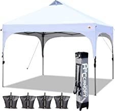 ABCCANOPY Canopy Tent 10x10 Pop Up Canopy Outdoor Canopies Portable Tent Popup Beach Canopy Shade Canopy Tent with Wheeled Carry Bag Bonus 4 Weight Bags, 4 x Ropes& 4 x Stakes, White